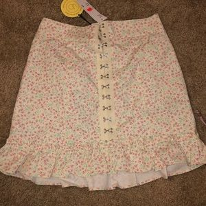 Urban outfitters floral ruffle hook skirt